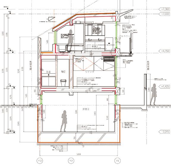 頑丈な建物 地下室のある鉄筋コンクリート造の断面図