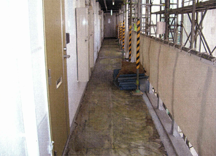 解体工事 各階廊下長尺シート剥し作業完了