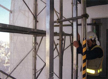金属工事 防風スクリーン 支持部材取付