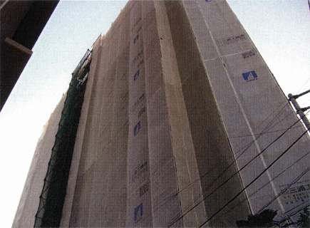 仮設工事 仮設足場架設 共用廊下側外観