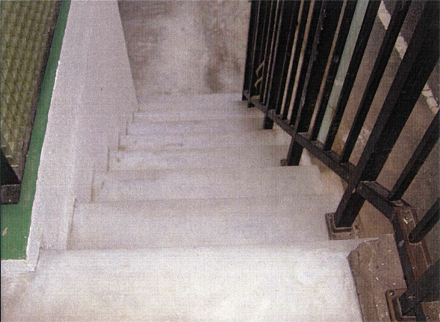 左官工事 205号室事務所玄関アプローチ階段 不陸モルタル補修施工完了