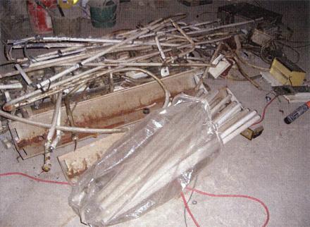電気設備工事 既存不要線撤去 廃材集積状況