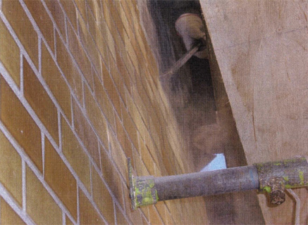 解体工事 階段室外壁タイル剥し 施工状況