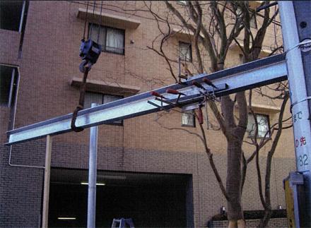 金属工事 鉄骨フレーム取付状況 溶融亜鉛メッキ鋼材