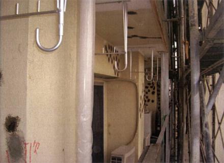 下地補修工事 バルコニー面 柱 梁 天井部分 モルタル浮き部分補修状況(エポキシ樹脂注入後)