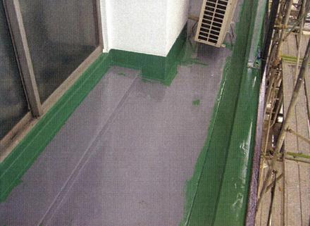 防水工事 バルコニー床 ウレタン塗膜防水 フッ素トップ塗布状況
