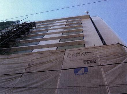 仮設工事 バルコニー側足場解体 施工状況