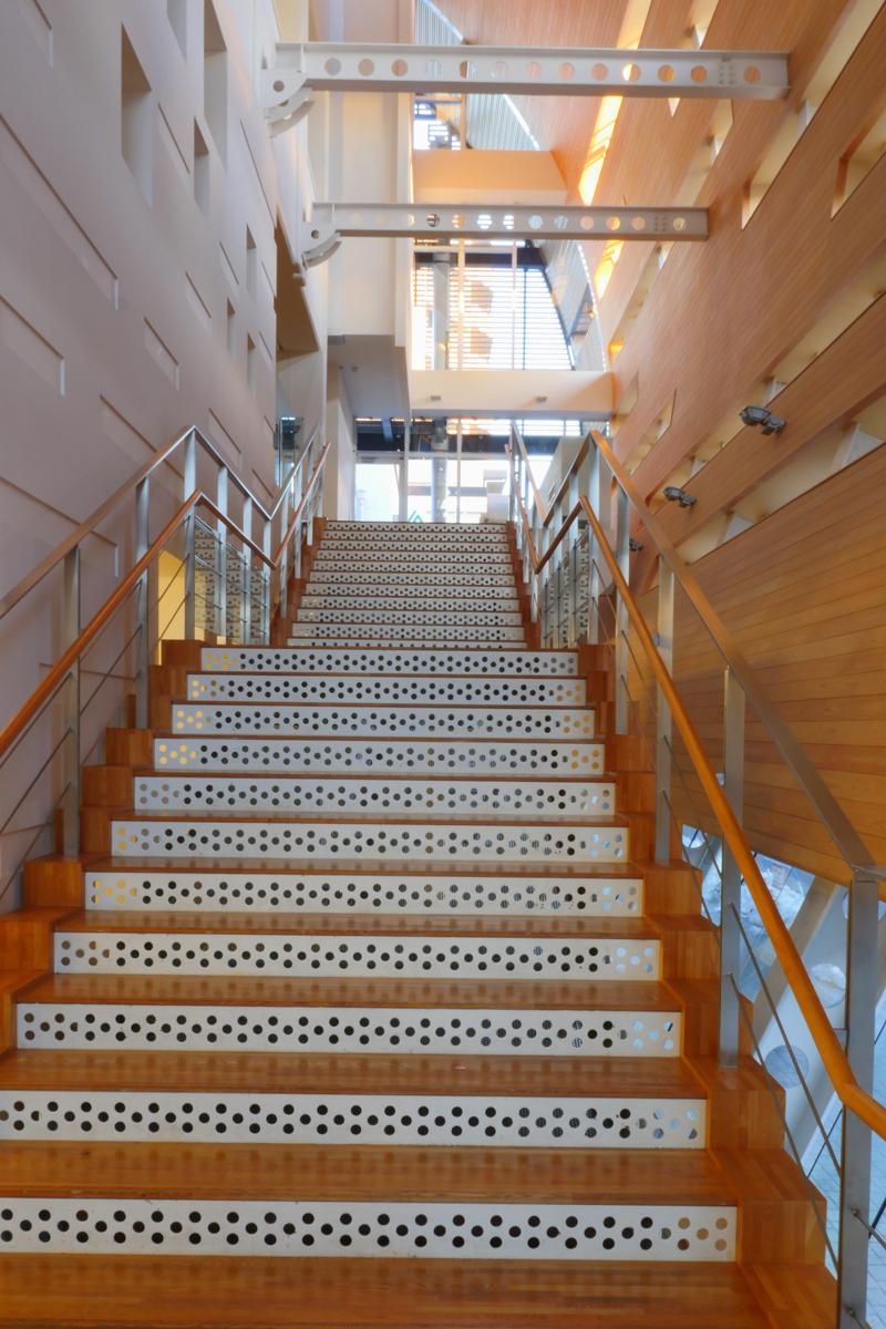 階段|片岡直樹の建もの探訪|清瀬けやきホール 1階と2階をつなぐメインの階段です。既存建物と増築外壁部分が鉄骨梁でつながっていますが、ピン接合かローラー接合のように見えます。少なくとも剛接合ではないようです。エキスパンションジョイントで増築部と既存部では適用される法令が違うのでしょうか。 一見しただけではわかりませんでした。デザインは蹴上げがパンチング加工されたり曲面壁が木仕上げであったり外壁支持の鉄骨梁ウェブに丸穴加工がほどこされたりしています。