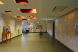 2階ホワイエ|片岡直樹の建もの探訪|清瀬けやきホール 天井が建築化照明となっています。