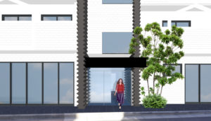賃貸マンション外装リノベーションデザイン案エントランス東京都足立区綾瀬駅近く 築39年の賃貸マンションの内外装フルリノベーション計画です。 駅前の好立地ですが、賃貸マンション部分が全部空室となり、店舗も1つ以外すべて空室となっています。 エントランスはオートロック自動ドア化を提案いたしました。 エントランス自動ドア化にあたり庇高さが低いため一度コンクリート庇を切断し 上部に建築面積の変更にならないように鉄骨庇を新設する予定です。