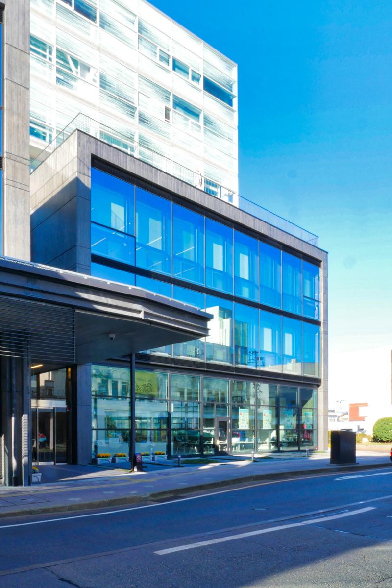 片岡直樹の建もの探訪|新発田市役所庁舎エントランスガラスカーテンウォール