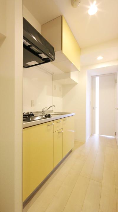 工事中に設計者が撮影した入居募集写真1Kキッチン|一日でも早く満室にするための新築賃貸マンション入居者募集方法