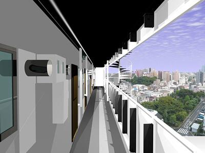 廊下 外観改装後CGイメージパース デザインリノベーション|賃貸マンション外壁大規模修繕|リフォーム空室改善事例