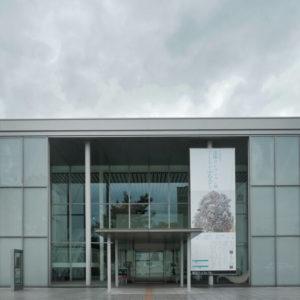 エントランスとエクステンションギャラリーのガラスカーテンウォール外観