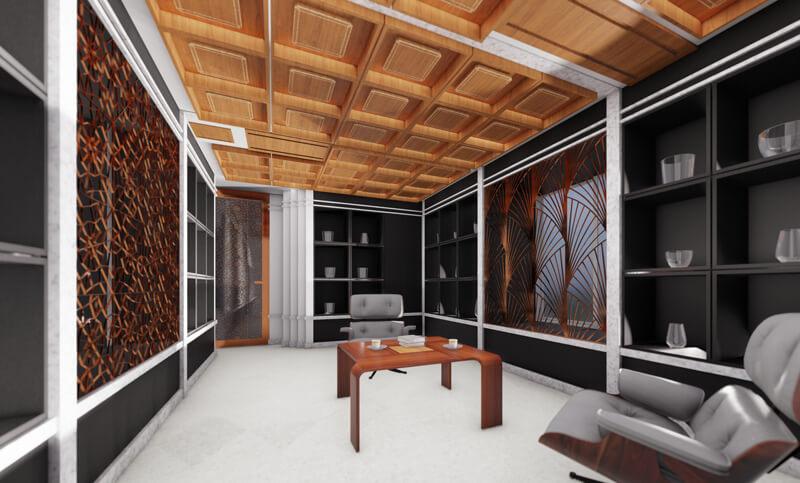 ルネ・ラリックはアール・ヌーヴォー、アール・デコの両時代にわたって活躍したフランスのガラス工芸家です。 ラリック作品オーナーのためのコレクション展示ルームの計画案です。 アール・デコ様式で黒いレザーの棚にラリック自体を光らせるインテリアデザインとしています。